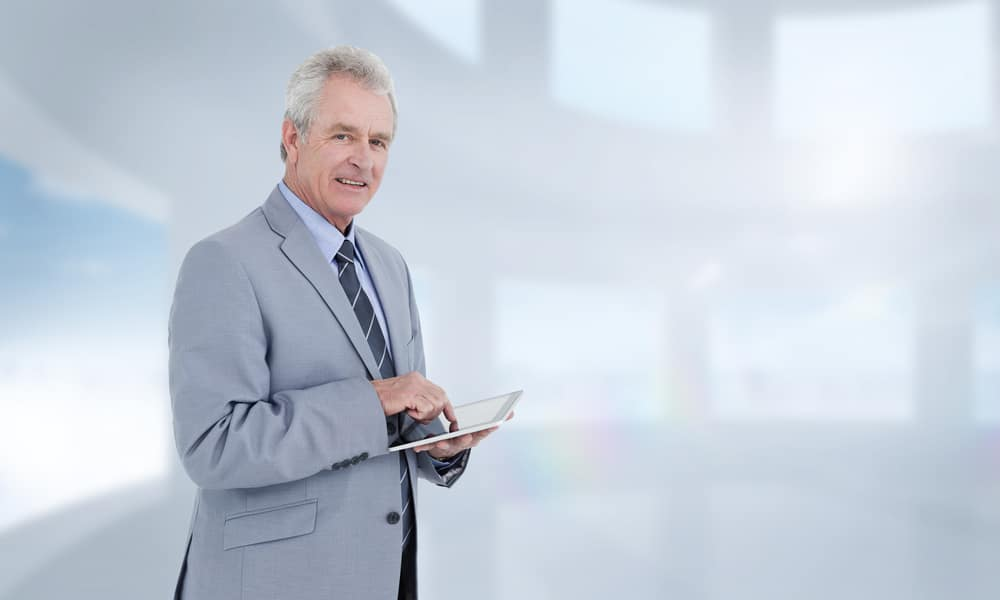 Businessman looking at new website